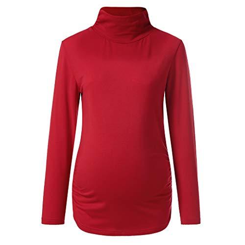 Mutterschaft Umstandshirt Stillzeit Bekleifung, Malloom große größen Womens Mutterschaft Lange Ärmel halbe Stehkragen Bluse Shirt Tops