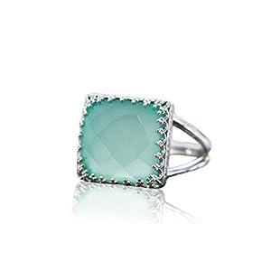 Anemone Jewelry Sterling Silber Chalcedony Ring – Modischer 925 Sterling Silber 12x12mm Chalcedony Edelstein Ring für Frauen – Silber Aquaschmuck von Engagierten Handwerkern Hergestellt