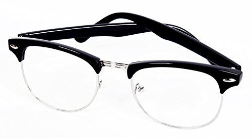 Clubmaster 60's Style Retro Geek Style Glasses- Clear Lens. Black