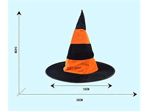 Kostüm Hexe Orange - DOOUYTERT Künstliche Blumen Satin Wizard Hut Hexen Spitz Hut für Halloween Ostern Weihnachten Kostüm Zubehör (schwarz + grün) Hochzeitssträuße (Farbe : Black Orange, Größe : 34x38cm)
