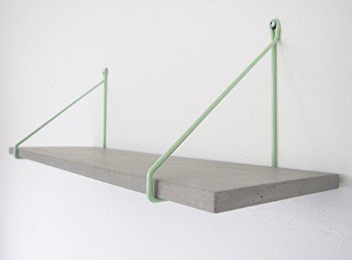 Uphangen Betonregal - schönes Wandregal aus Beton mit farbiger Halterung aus Stahl