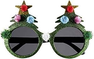 Agumx_outdoor Neuheit Urlaub Brille Weihnachtsbaum Spitze Haarball Brille Grün Gold Pulver Weihnachten Verkleiden Party lustige Brille