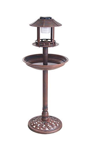 Vogelbad Vogeltränke XXL H: ca. 98cm mit Standfuß Vogel Futterstelle Vogelhaus Tränke Solar Leuchte Solarlicht Rost-Optik braun