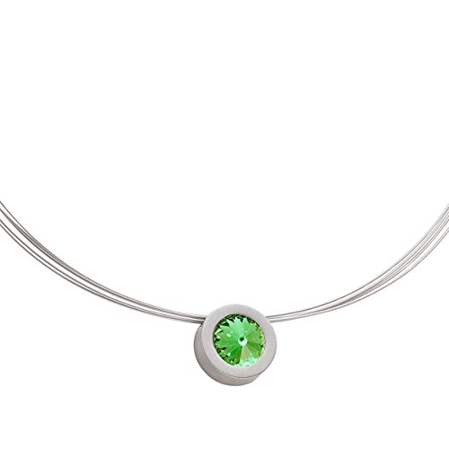 Heideman Halskette Damen Coma 16 aus Edelstahl Silber farbend matt Kette für Frauen mit Swarovski Stein Kristall Peridot grün im Fantasie Edelsteinschliff