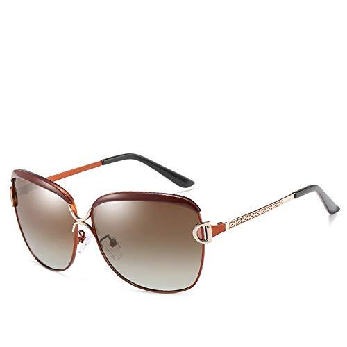 Sonnenbrillen für Damen Klassische große Rahmengläser, polarisierte Linse. Brille (Farbe : Tea Frame)