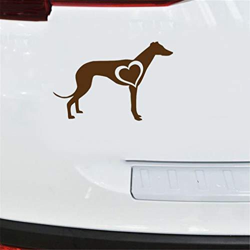 Etiquetas engomadas creativas del coche del corazón del amor del galgo Calcomanías creativas Accesorios del coche 15.2x10Cm para la etiqueta engomada de la ventana del ordenador portátil del coche