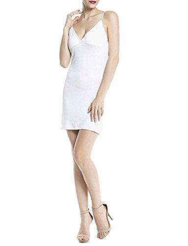 iB-iP Damen Baumwolle Spaghettiträger Nahtlose Kleides Mini Unterkleid Weiß