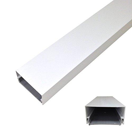 Kabelkanal aus Aluminium - 115x5cm - rund oder eckig - Weiß, Schwarz oder Grau/Silber - Einfaches Klicksystem (Weiß eckig) - Pulverbeschichtet Kunststoff