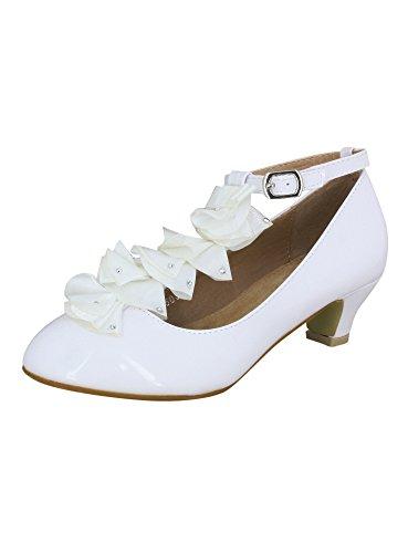 Chaussures à talon blanches enfant mariage, communion, baptême - Blanc - 35 - PRODUIT STOCKÉ ET EXPÉDIÉ RAPIDEMENT DEPUIS LA FRANCE