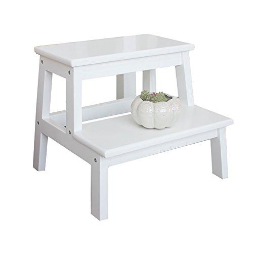 Yuan Trittschemel Weiß 2 Tread Schritt Hocker für Erwachsene & Kinder Küche Holz Leitern Kleine Fuß Hocker Indoor Portable Blumen Rack/Schuh Bank/Lagerregal /&