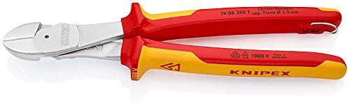 Knipex 74 06 250 T Kraft-Seitenschneider mit Befestigungsöse verchromt isoliert mit Mehrkomponenten-Hüllen, VDE-geprüft 250 mm