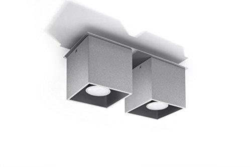 Bauhaus Deckenleuchte (B10cm, L26cm, 2-flmg, Bauhaus, Rechteckiger Schirm) Küchenlampe Innenleuchte Flurleuchte Deckenlampe
