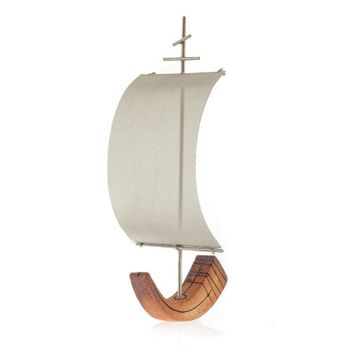 "Boat Ancient Ceramic & Metal Sculpture Table Ornament, Handmade 37x18cm (15x7"")"
