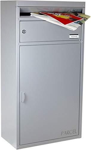 SafePost 65- Paketbriefkasten - silbergrau - mit Paketfach - Standbriefkasten - Briefkasten