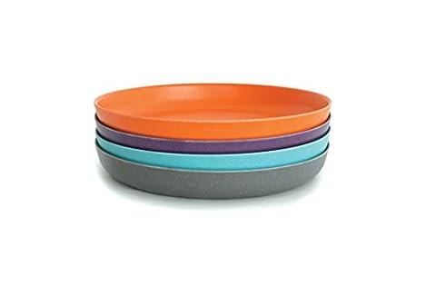BIOBU by eKOBO 34550 bambino set 2 assiettes bleu ciel/orange/prune/gris