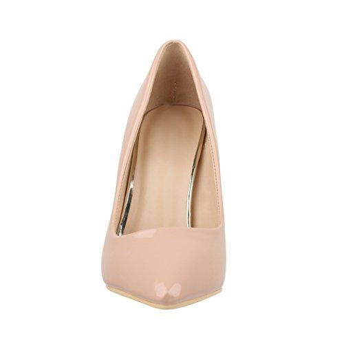 Elara Spitze Damen Pumps | Bequeme Lack Stilettos | Elegante High Heels Beige London