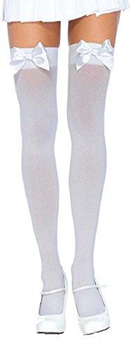 Leg Avenue Damen Damen plus size halterlose Strümpfe weiß mit weißen Schleifen Einheitsgröße ca. 42 bis 44