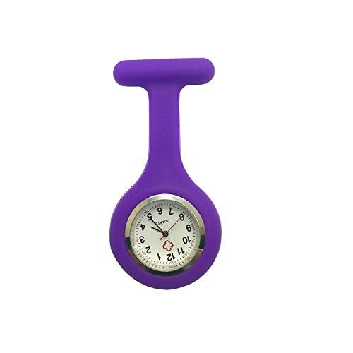 Schwesternuhr zum Anstecken, Silikon, Uhr für Pflegepersonal (Lila)