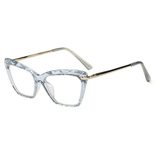 YMTP Transparenter Glasrahmen des Katzenauges Für Frauendesigner-Brillenrahmenquadratfrau, Blauer Rahmen