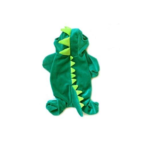 ostüm-Haustier-Kleidung Hoodie Dinosaurier-Kostüm-Overall-Winter-Mantel Warme Kleidung für kleine Hunde Katzen-Dinosaurier verkleiden sich Halloween-Kostüm Grün ()