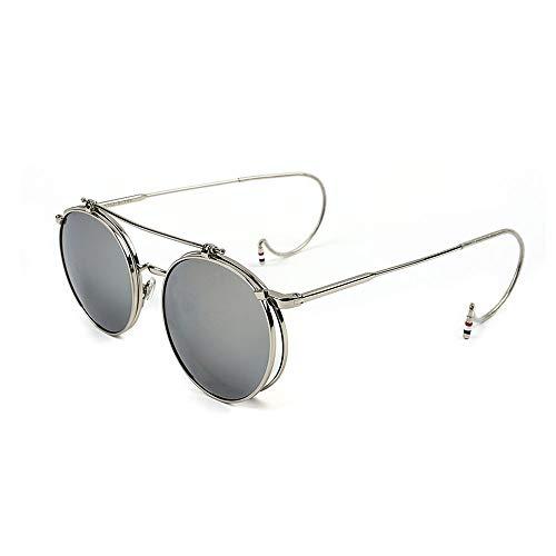 Unisex Vintage Steampunk Runde Flip Up Sonnenbrille für Männer Frauen Metall Kreis Hook Up Frame,D