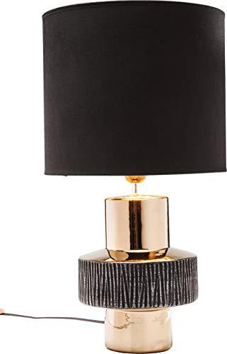 Kare 35030 Design Tischleuchte Creation Ring, große Tischlampe, Nachttischlampe, Schwarz-Gold, (H/B/T) 55x30x30cm