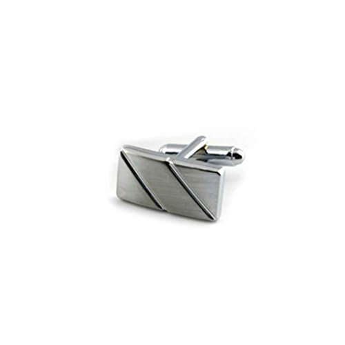 LUFA Men's Classic Silver Cufflinks and Tie Bar Set for French Cuff Dress Shirts