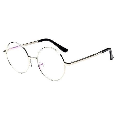 Forepin® Klassischer Runde Brillenfassungen Retro Unisex Metall Brillengestell, Silber