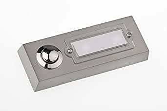 huber klingel klingeltaster 12001 1 fach aufputz rechteckig echtmetall mit namensschild aus. Black Bedroom Furniture Sets. Home Design Ideas
