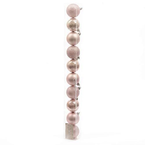 10 palline di natale 6cm color rosa cipria addobbi decoro albero