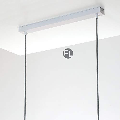 Flairlux Baldachin rechteckig Lampe 2 flammig weiß Metall Lampenbaldachin rechteckig zum Bau von Deckenleuchten | Lampe für Esstisch | Lampenaufhängung Lampenzubehör DIY | L 50 x B 5 x H 2,5 H/l Lampe