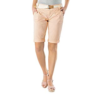 Fresh Made Damen Bermuda-Shorts in Pastellfarben mit Flecht-Gürtel | Elegante Kurze Hose im Chino-Style