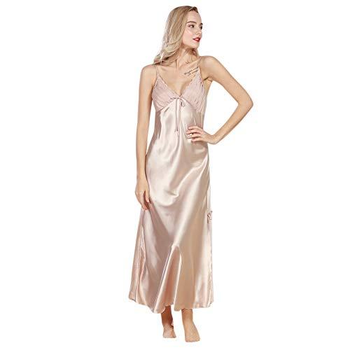 Yvelands Damen Dessous Patchwork Kimono Ärmellos Chemise Reizwäsche Pyjamas Kleid Transparente Damen Robe (M,Khaki)