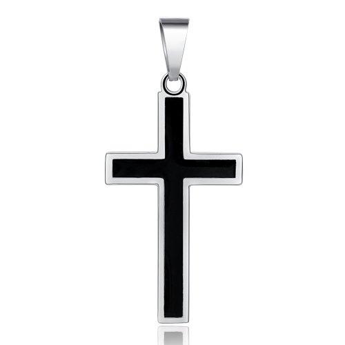 ger Kreuz aus Edelstahl zweifarbig verpackt in einem schwarzen Geschenkbeutel ()