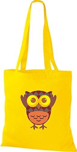 ShirtInStyle Jute Stoffbeutel Bunte Eule niedliche Tragetasche mit Punkte Owl Retro diverse Farbe, blau gelb