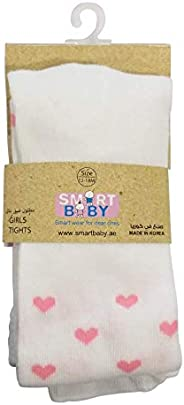 Smart Baby Infant Girls Tights, White/Pink TJGS20ALTF02