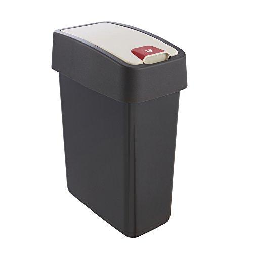 keeeper Premium Abfallbehälter mit Flip-Deckel, Soft Touch, 10 l, Magne, Graphit Grau