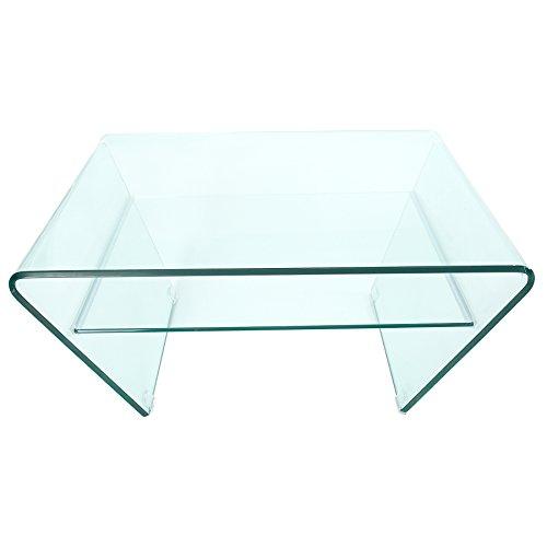 Design Trapez Glas Couchtisch GHOST 80cm mit Ablage transparent Glastisch Beistelltisch -