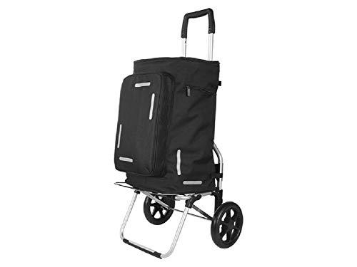 TOPMOVE Einkaufstrolley, multifunktional Einkaufswagen (ORIGINAL ROBUST Quality) Mit 2 oder 6-Rädern/Höhenverstellbarer Teleskopgriff/Mit Einkaufswagen-Chip/Abnehmbare Tasche (2 - Rad)