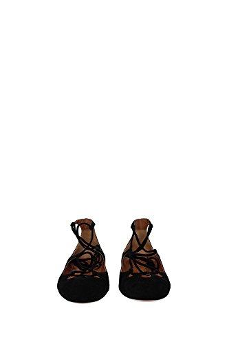 DANFLAA0SUE000 Aquazzura Ballerine Femme Chamois Noir Noir