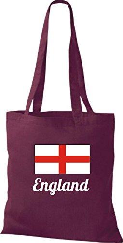 Camicia In Tessuto Borsa In Cotone Borsa Country Juta Inghilterra Colore Rosa Vino Rosso