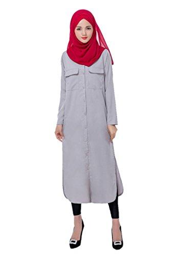 GladThink Frauen-malaysisches langes Hülsen-moslemisches Kleid Grau