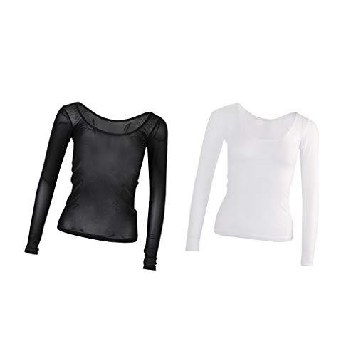 Hellery 2 Stück Langarm Rundhals Tüll Netz Body T-Shirt Bluse Hemd Tanz Kostüm