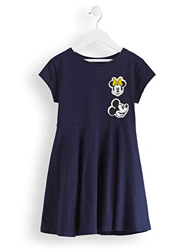 RED WAGON Girl's Minnie Mouse Mouse Skater Dress with Badges, Blue (Navy), 122 (Manufacturer Size: 7)