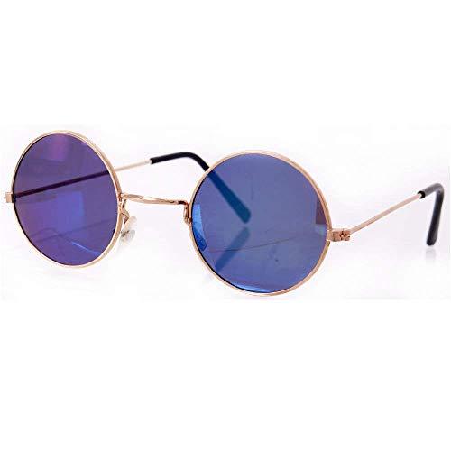 TE-Trend 70er Hippie Karneval Brille rund blau Kostüm Zubehör Partybrille Flower Power Lennon Osborne