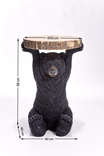 Kare Design Beistelltisch Animal Bär, Ø40cm, kleiner, runder Couchtisch, Holzoptik, Tierfigur als ausgefallener Wohnzimmertisch, (H/B/T) 58x40x40cm