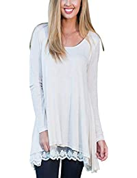 FeelinGirl Womens Crewneck Lace Long Sleeve Loose Layered Tunic Top Blouse Dress