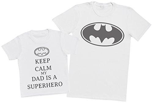 Keep Calm My Dads A Super Hero - Passende Vater Kind Geschenk-Set - Vater T-Shirt und Kinder T-Shirt - Weiß - M & 3-4 Jahre -