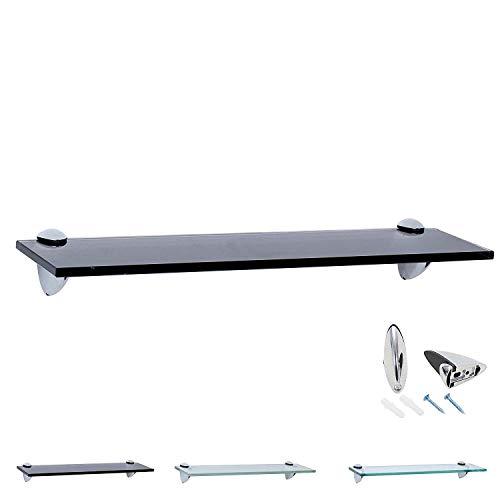 Rapid Teck Glas Wandregal Schwarz Glanz 40cm x 10cm - Glasregal mit 8mm ESG Sicherheitsglas - Glasregal perfekt als Badablage Glasablage für Badezimmer - Verschiedene Größen wählbar