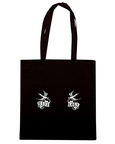 T-Shirtshock - Borsa Shopping T0152 hate and love calcio ultras Nero
